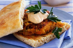 Vegetarian Pumpkin, Chickpea and Zucchini Burger on Pide